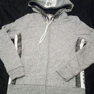PINK bling full zip hoodie gray and silver NWOT